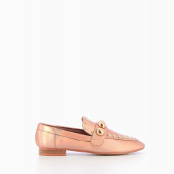 Metalic pink cabochon loafers