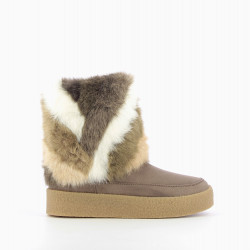 Taupe faux-fur lined boots