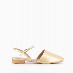 Gold flat Mary Jane slingbacks
