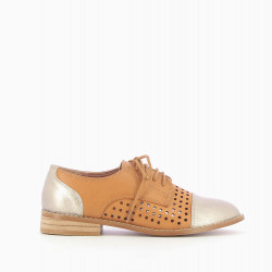 Camel perforated brogues with contrasting toe
