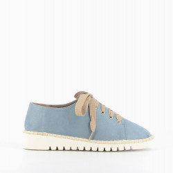 Ultra-light brogues in blue suede-effect