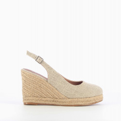 Beige tweed slingback wedges