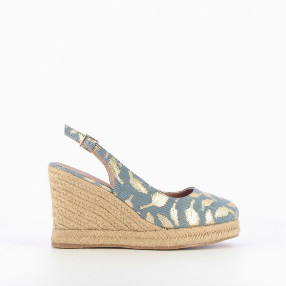 Denim-effect slingback wedges with gold feathers