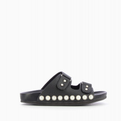 Pearly black mules with double strap