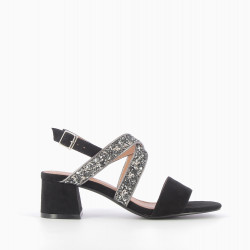 Black heeled sandals with sequinned straps